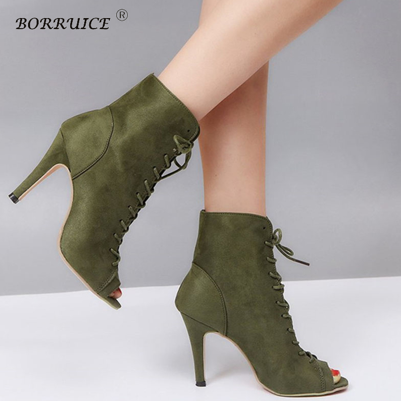 BORRUICE Shoes Woman Sexy High Heel Pumps Peep Toe Suede Zapatos Mujer Booties Cross Strappy Lace Up Sandals Party Ladies Shoes цена