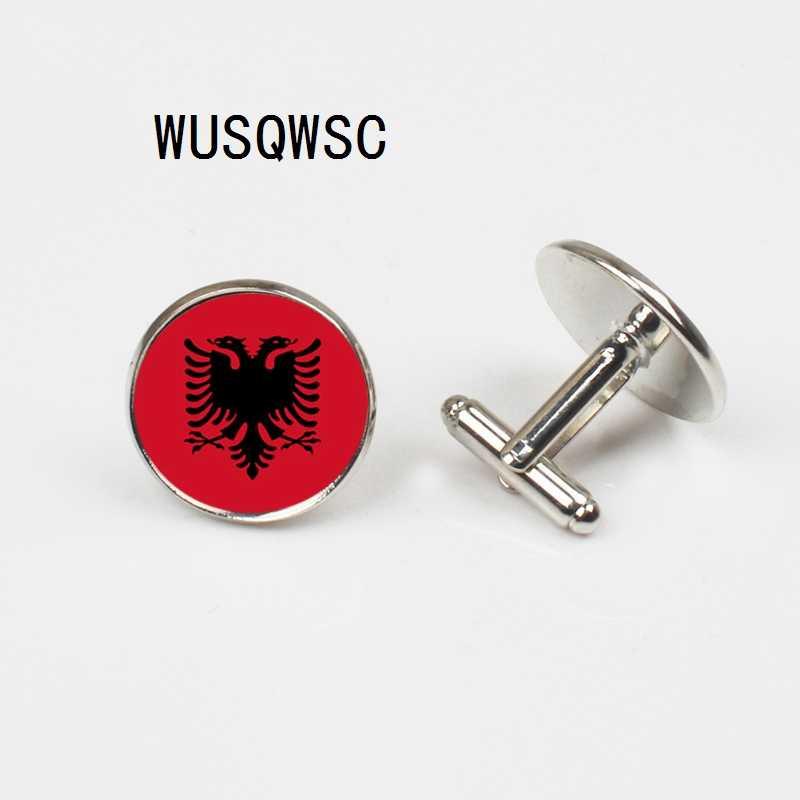 WUSQWSC 2018 Ulusal moda takı Arnavutluk bayrağı kol düğmeleri gümüş Düğün arka plan Başlığı Vintage Erkekler 18mm kol düğmeleri
