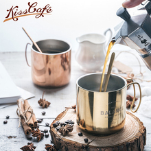 купить Simple Nordic Minimalism 304 Stainless Steel Coffee Cup With Handle Mug Beer Mug with Handle Cover Double Layers Water Cafe Cup по цене 1172.36 рублей