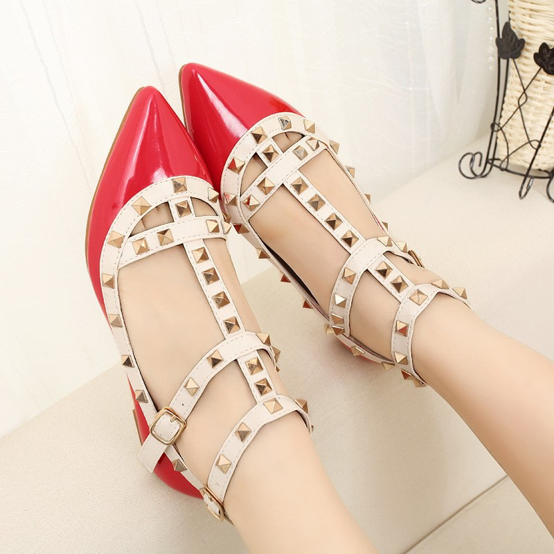 New-rivet-pointed-toe-women-color-block-patent-leather-gladiator-flats-sexy-stud-women-ballet-flat (3)