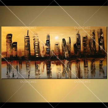 High-rise Building City Reflected in the Lake Beautiful Night View Classical Hand-painted Oil Painting on Canvas Home Decor