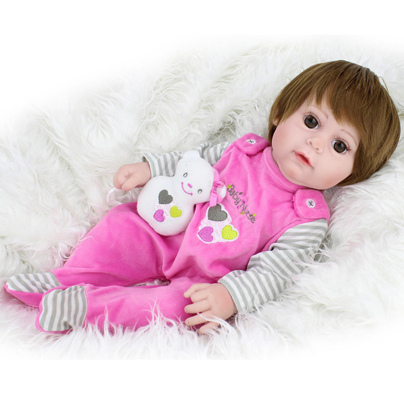 NPK DOLL Reborn Baby Doll Lifelike Newborn Babe Girl Boneca Pink Full Vinyl Soft Silicone 17 inch Playful Educational Toys цены