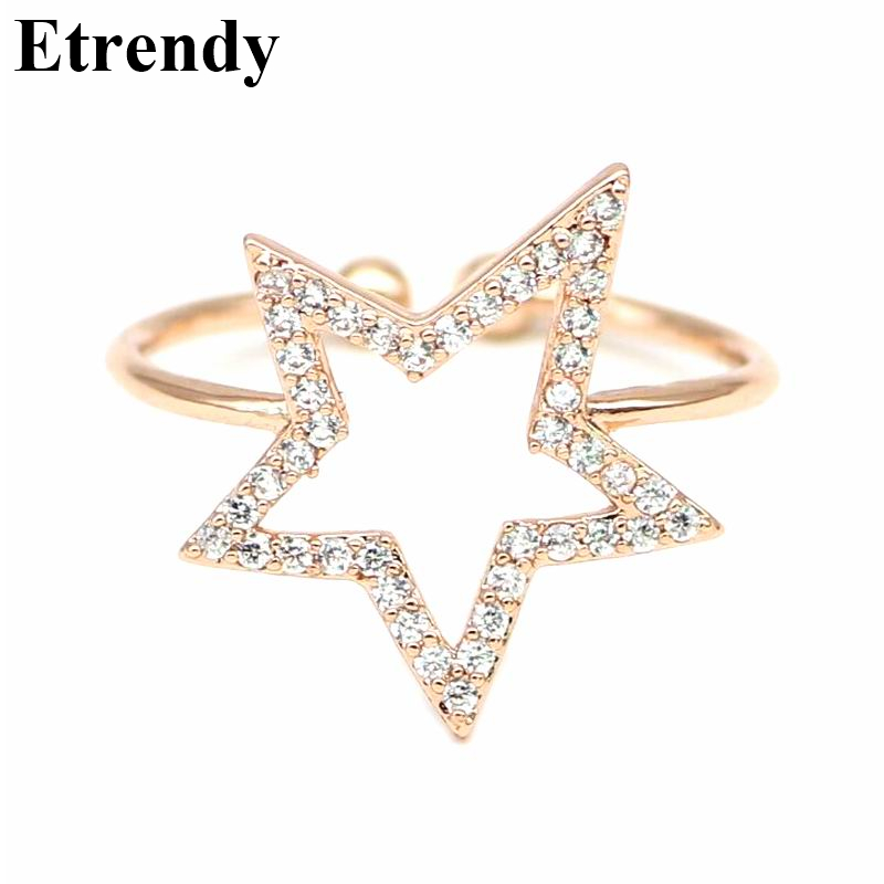 Adjustable Rhinestone Star Ring For Women 2019 New Simple Ring Cute
