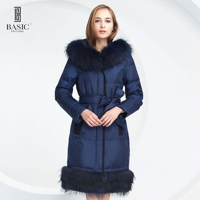 BASIC EDITIONS 2015 зима модный пуховик длиный пух белой утки с поясом с настоящим мехом енота