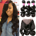 360 Lace Frontal With Bundle Brazilian Virgin Hair Loose Wave With Frontal Closure Human Hair Weave Bundle With 360 Lace Frontal