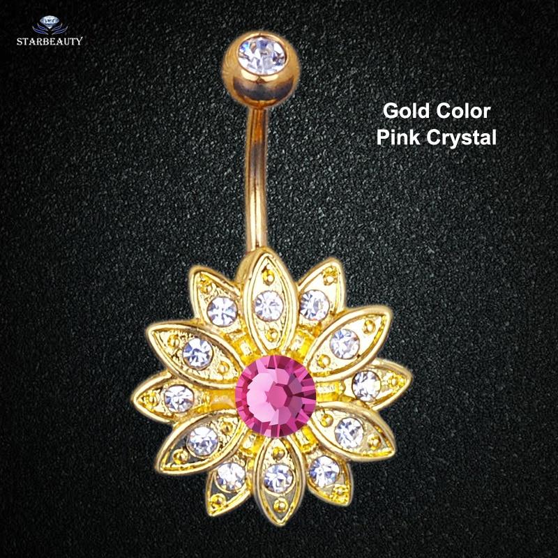 14G Sun Flower Petal Navel Piercing Ombligo Silver Rosa Kristall - Märkessmycken - Foto 5