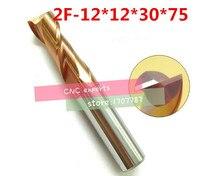 2F-12*12*30*75 HRC60  karbür Kare Yassı Frezeler kaplama: nano 2 flüt çapı 12.0mm  Deri  sıkıcı Bar  cnc  makinesi