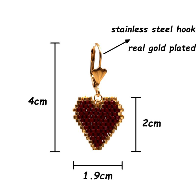 FAIRYWOO Vintage Big Heart Earring Luxury Miyuki Jewelry Woman Friendship Drop Earrings Rose golden Sweet Delica Gifts For Girls in Drop Earrings from Jewelry Accessories