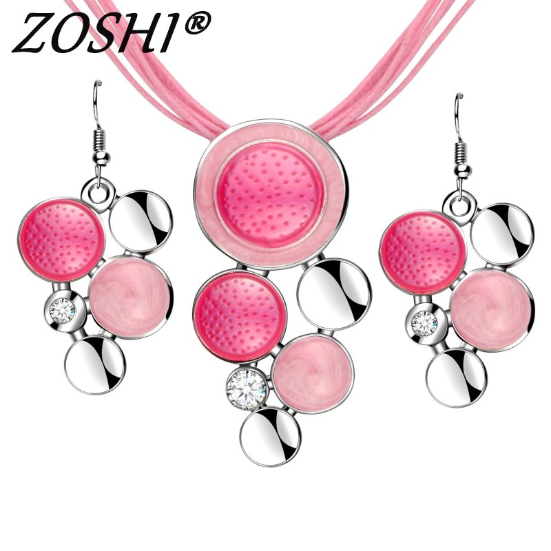 Jewelry-Sets Necklace Rope-Chain Pink High-Quality Fashion-Brand Pendant Beads Drop-Earring