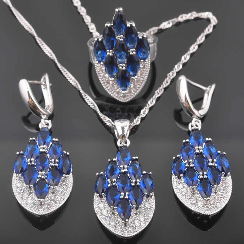 יוקרה כחול אבנים כסף מצופה נשים חתונה מתנות טבעת עגילי שרשרת צמיד מתנה לחתונה QZ0588