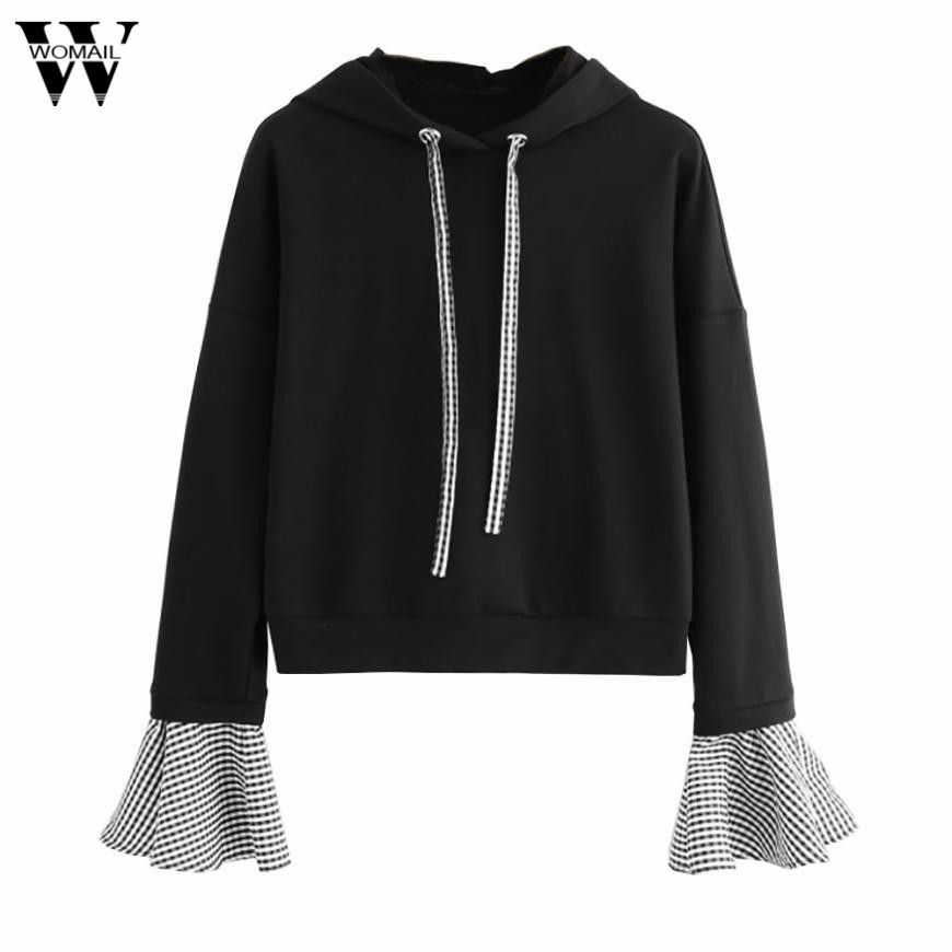 Sensible Women Ladies Sweatshirt Long Sleeve Plaid Patchwork Hoodies Sweatshirt Women Cat Hooded Pullover Crop Tops Clothes Jl.24 Elegant Shape Women's Clothing