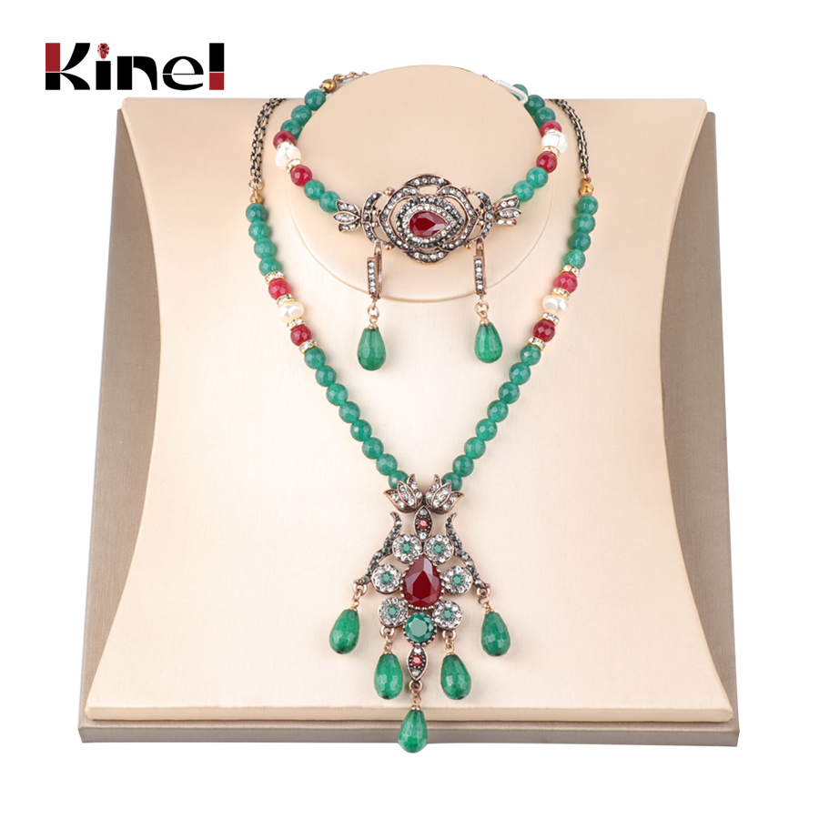 Kinel Exaggerated Vintage Wedding Jewelry Green Natural Stone Indian Ethnic Women Necklace Crystal Bracelet Earring