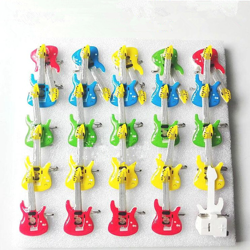 Children Adults Guitar LED Flashing Brooch Pin Light Up Badge Glowing Jewelry Gift Toys Glow Party
