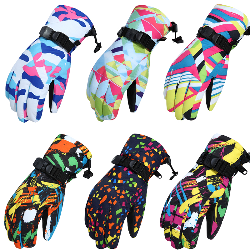 -30 Man / Woman Snow glove Thermal thick Windproof waterproof skiing and Snowboarding mitten outdoor sports warm gloves colorful
