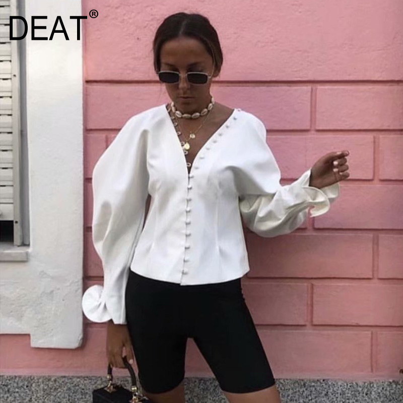 Women's Clothing Fast Deliver Deat 2019 Summer Women Clothing Sexy V Lead Low Chest Row Buckle Hubble-bubble Waist Show Thin Shirt Jacket Female Vestido Za244