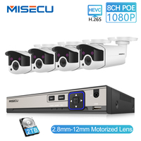 MISECU 8CH 1080P POE Security CCTV System IP Camera 2.8mm 12mm Motorized Auto Zoom Lens P2P ONVIF Night Vision Surveillance Kit