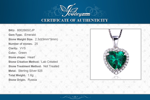 JewelryPalace Heart Of Ocean 2.4ct Created Green Russian Nano Emerald Love Forever Halo Pendant Pure 925 Sterling Silver Jewelry
