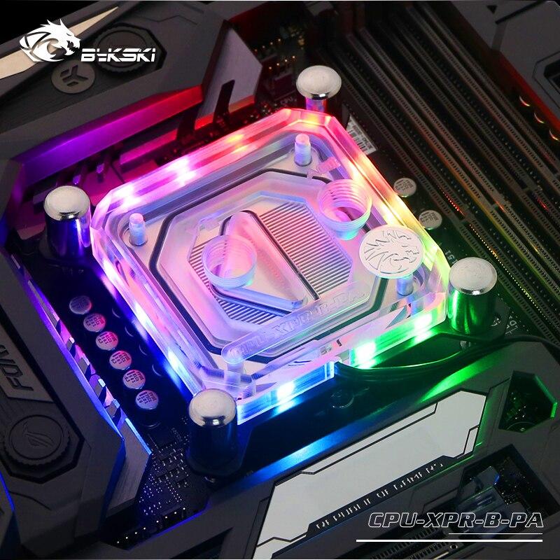 Bykski CPU bloc d'eau utilisation pour INTEL LGA1150 1151 1155 1156 2011X99 Transparent RGB support 5 V 3PIN GND en-tête à la carte mère - 2