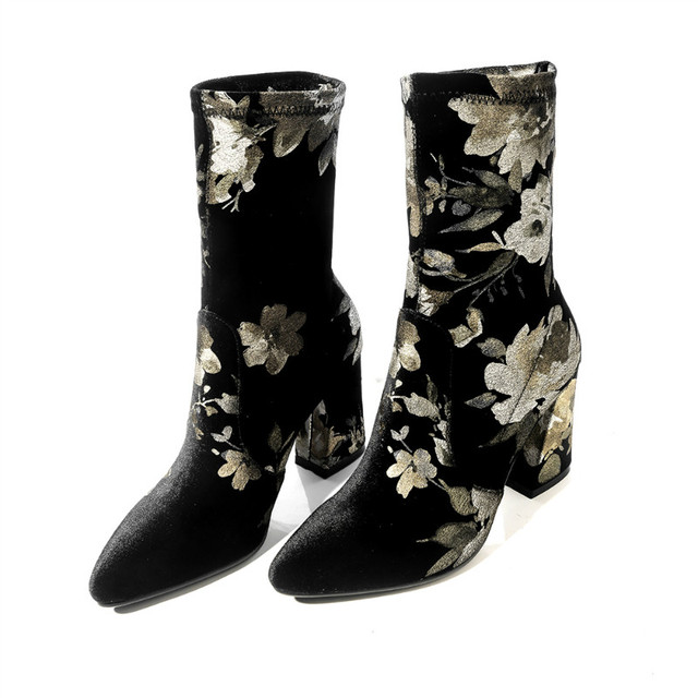 2017 New Fashion Brand Winter Shoes Big Size Embroidery Flower Round Toe High Heel Women Mid-calf  Boots Lady Flock Boots Woman