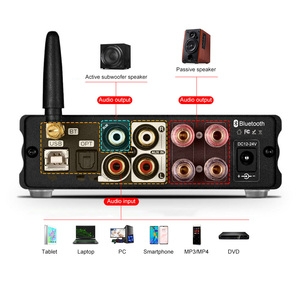 Image 4 - BRZHIFI HiFi סטריאו Bluetooth 5.0 TDA7498 כוח מגבר עם פעיל סאב אוזניות Amp USB/OPT/לשדל DAC מפענח