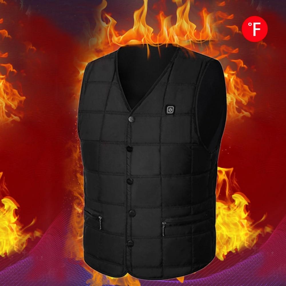2018 New Heating Vest Fashion V-Neck Winter Warm Vest for Men and Women USB Charging Skiing Vest Black Color M-3XL Best Gift