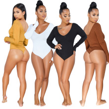 Rib Knitted V-Neck Long Sleeve Beach Playsuits Bandage Jumpsuits Ladies Rompers Plus Size