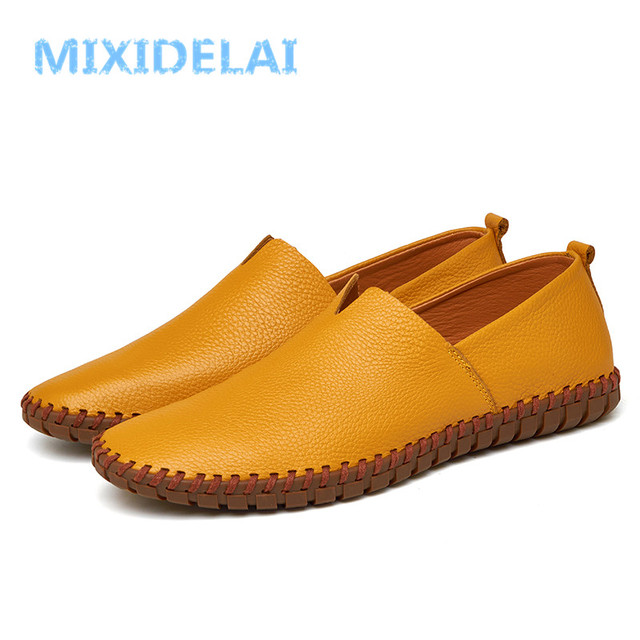 MIXIDELAI Genuine Cow leather Mens Loafers Fashion Handmade Moccasins Soft Leather Blue Slip On Men's Boat Shoe PLUS SIZE 38~48 2