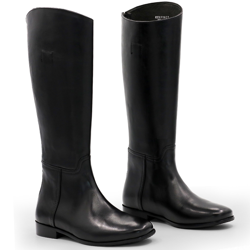 Mens Leather Military Back Zip LA Black Knee High Riding Boots Equestrian Shoes