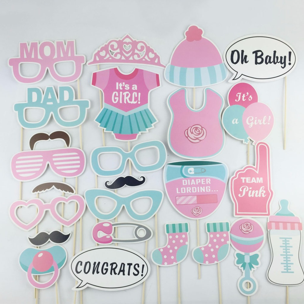 Splendent Set A Girl Baby Shower Photo Booth Props Birthday Partyphotobooth Diy Kits On A Stick Pink 2016 New Photobooth Propsfrom Home Set A Girl Baby Shower Photo Booth Props Birthday Party
