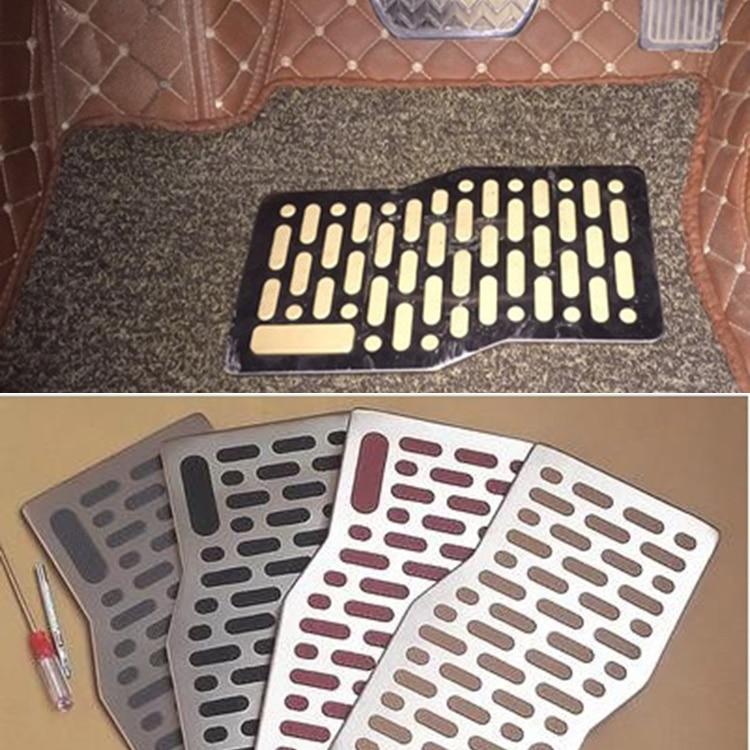 Car Floor Mat Carpet Auto Aluminum Pad Plate Pedal Foot