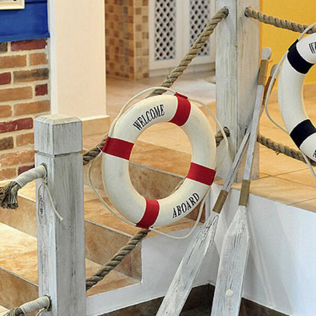 Welcome Aboard Nautical Life Lifebuoy Ring Boat Wall Hanging Home Decoration Mediterranean Style 2