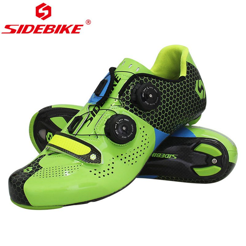 SIDEBIKE Road Cycling Shoes Riding Equipment Carbon Fiber 40-45 EU gree Breathable PRO Racing Team Cycling Locking Shoes