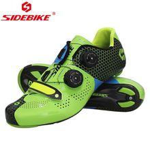 SIDEBIKE шоссейном велосипеде обувь для верховой езды оборудования углеродного волокна 40-45 ЕС gree дышащий PRO гоночная команда задействуя Блокировка обувь