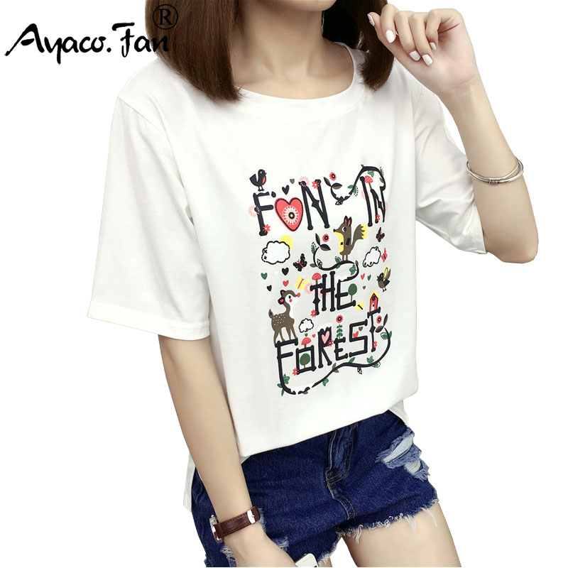 2019 Summer New Women T-Shirt VOGUE Letter Print T-shirts For Girls Students Casual Short Sleeve Tee Female Tops Camisetas Mujer