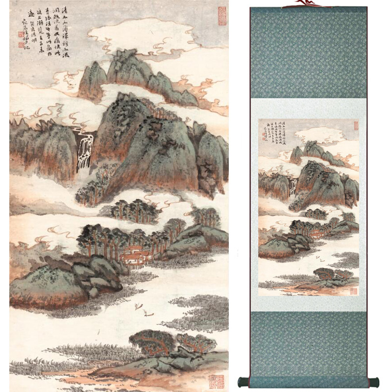 landscape painting Home Office Decoration Chinese scroll painting mountain and River paintingPrinted painting060511