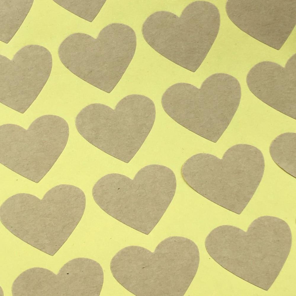 ᗔ300PCS/Lot 3x2.4cm heart-shaped kraft paper Adhesive Labels ...
