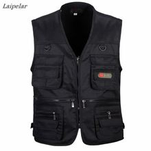 2018 Spring and Autumn Men Vest Army Green waistcoat casual Multi-pocket travel or work wear Durable plus size Laipelar
