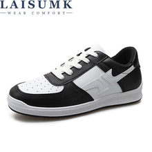 LAISUMK 2019 New Mens Leather Casual Shoes Lace Up Male Flat Soft Comfortable Black Man Fashion Walking