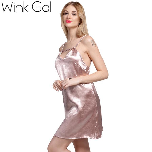 Guiño Gal Satén Ata Para Arriba el Vestido de Deslizamiento de Seda Sexy Camisones pijamas de dormir ropa de Dormir de Verano Vestidos de Las Mujeres 3257