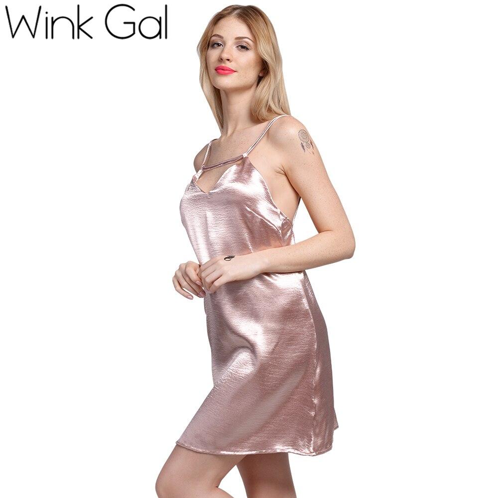 17e379d56 Wink Gal Satin Lace Up Slip Dress Silk Sexy Nightgowns Sleepwear Summer  Nightwear Sleeping Dresses Women