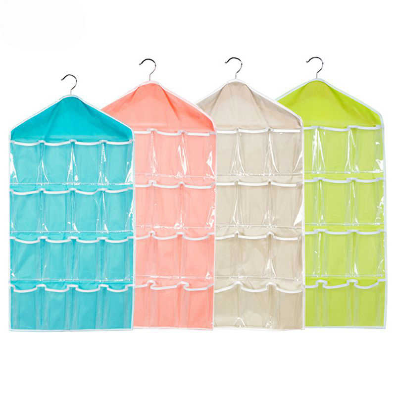 16 Pockets Wall Mounted Wardrobe Hang Organizer Sundries Jewelry Storage Bags Underwear Cosmetics Toys Organizer Bags New