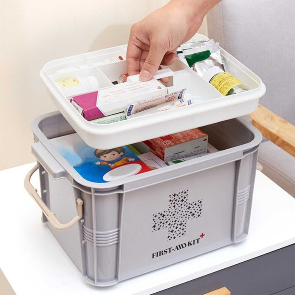 Newest Medicine Box First Aid Kit Box Plastic Container Emergency Kit Portable Multi-layer Large Capacity Storage Organizer цена