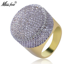 HOT!!! Hip Hop Luxury Brand Big Head Rings Men High Quaity Full Micro Pave Zircon Ring Wedding Engagement Accessories