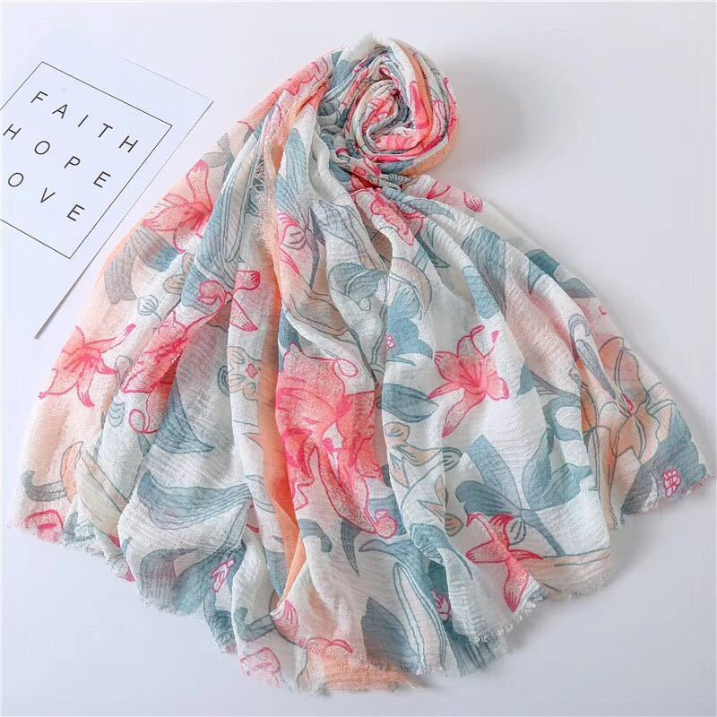2019 Spain Luxury Brand Wrinkle Floral Viscose Shawl Scarf Ladies Print Soft Hijabs And Wraps Pashmina Bufandas Muslim Sjaal