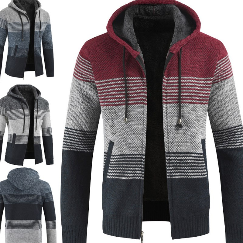 Men New Warm Hot Selling Promotion Streetwear Top Coats Hooded Sweater Knitted Cardigan Drop Ship Fashion Jacket Plus Size 3XL