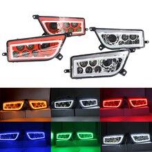 Angel Eyes Conjunto de faros LED UTV para coche, set de faros delanteros con anillos de Halo DRL, rojo, amarillo, verde y azul, para Polaris RZR 900 XP 1000 2016 TURBO