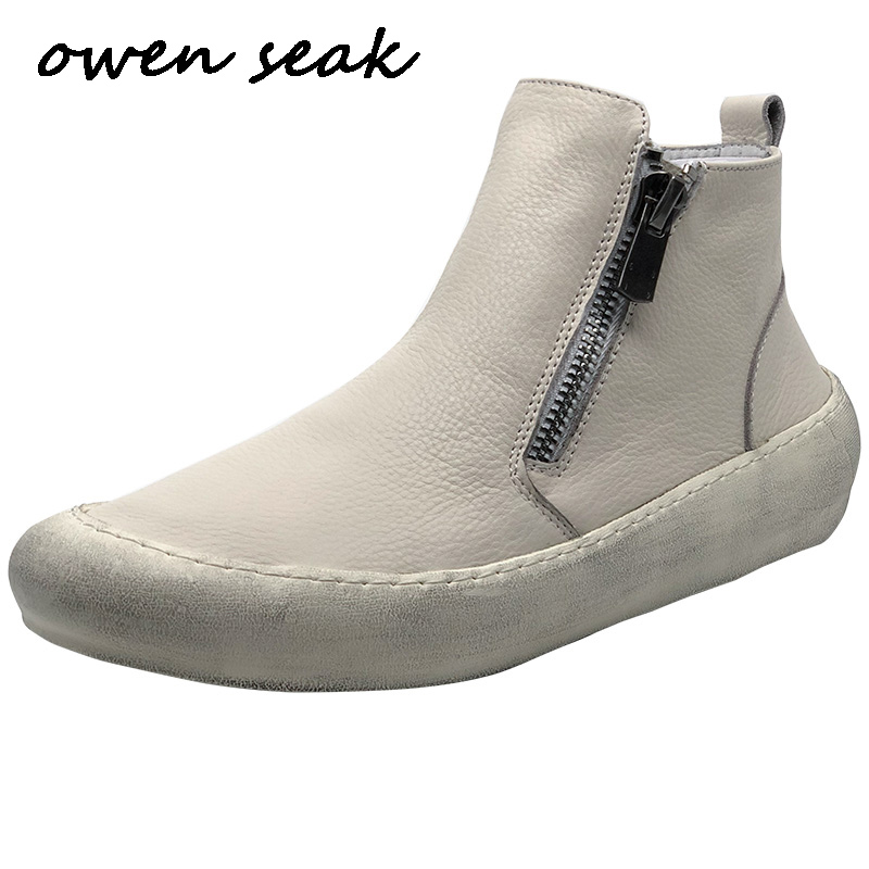 New Men Casual Boots Cow Leather High TOP Ankle Boots Luxury Trainers Spring Zip Flats White