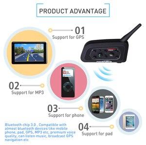 Image 2 - Fodsports 2 stücke V6 Pro Intercom Motorrad Bluetooth Helm Headset 6 Fahrer 1200M Motorrad Wireless BT Sprech