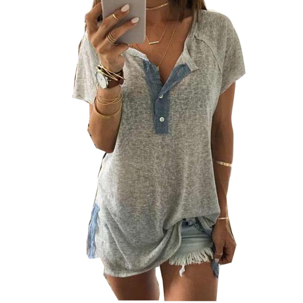 f40ccb348b6b Large-Size-Summer-T-Shirt-Women-Solid-V-Neck-Casual-Short-Sleeve -Tshirt-Button-Loose-Top.jpg