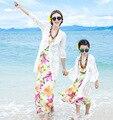 Мода мама и дочь кружева кардиган пляж платье скобки юбки купальники матери-дочери соответствующие гавайский длинные платья